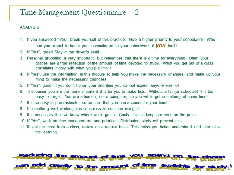 time management analysis