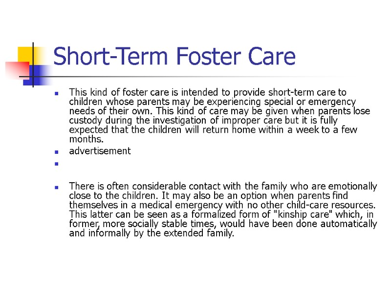 Types of foster families Adult Care Adult care