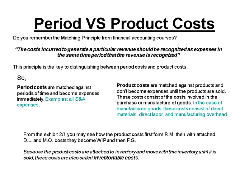 Chapter 2: Cost Terms, Concepts, and Classifications