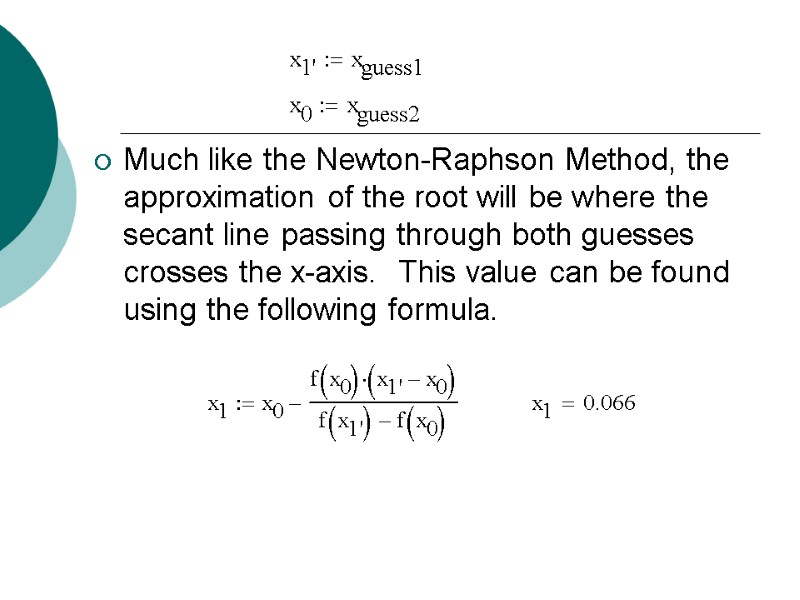 Lecture 2 Using MathCad for solving nonlinear equations