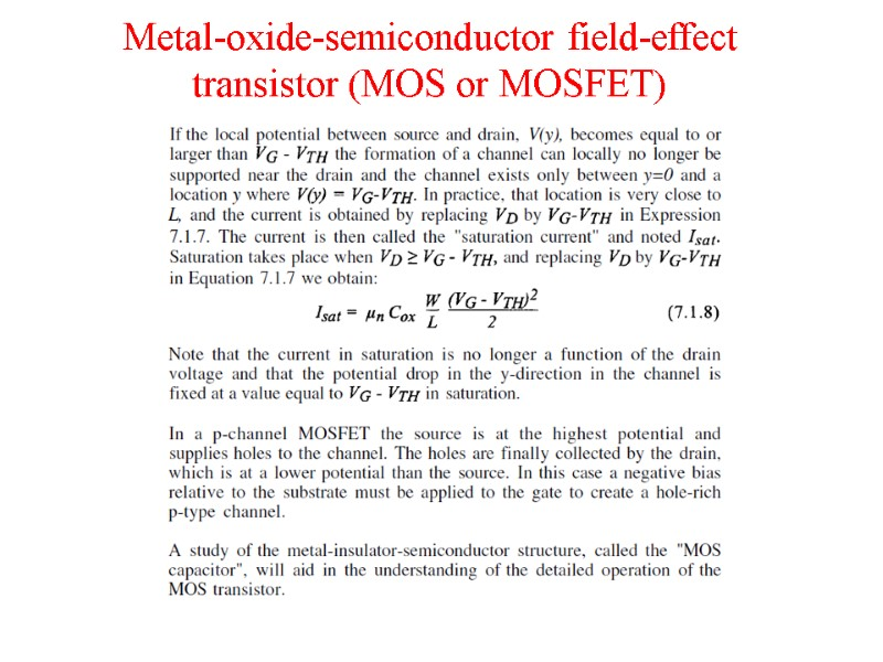 Metal-Insulator-Semiconductor and Metal-Insulator-Metal Structures