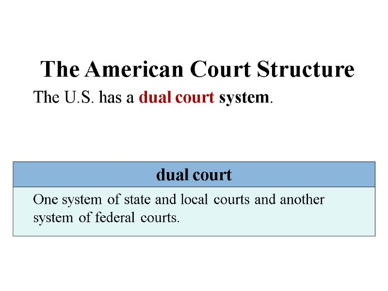 why do we have a dual court system