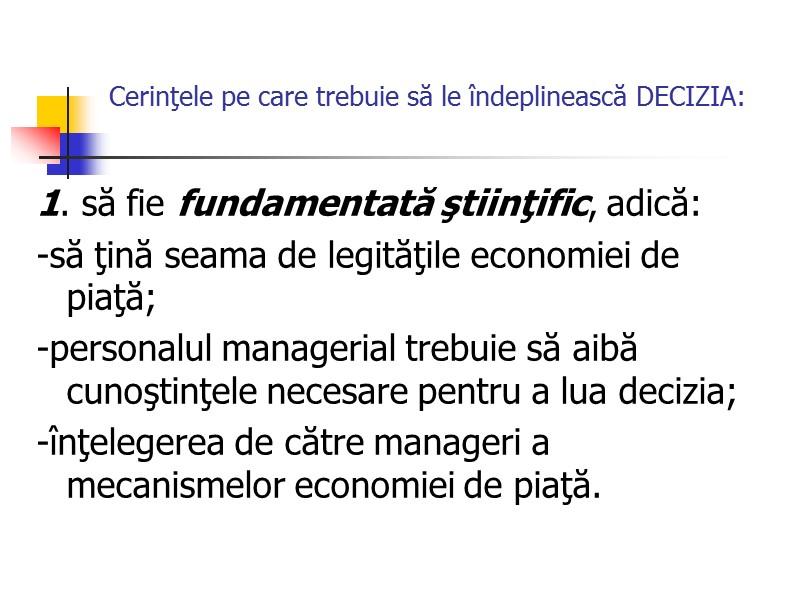 factorii de decizie de piață)