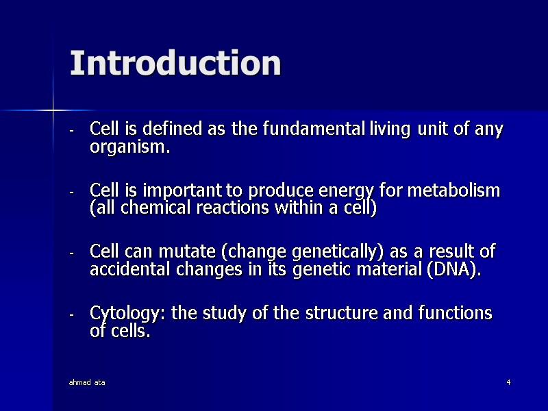 Ahmad Ata 1 Anatomy Physiology Of Cells