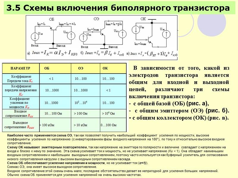 Схемы включений биполярных транзисторов