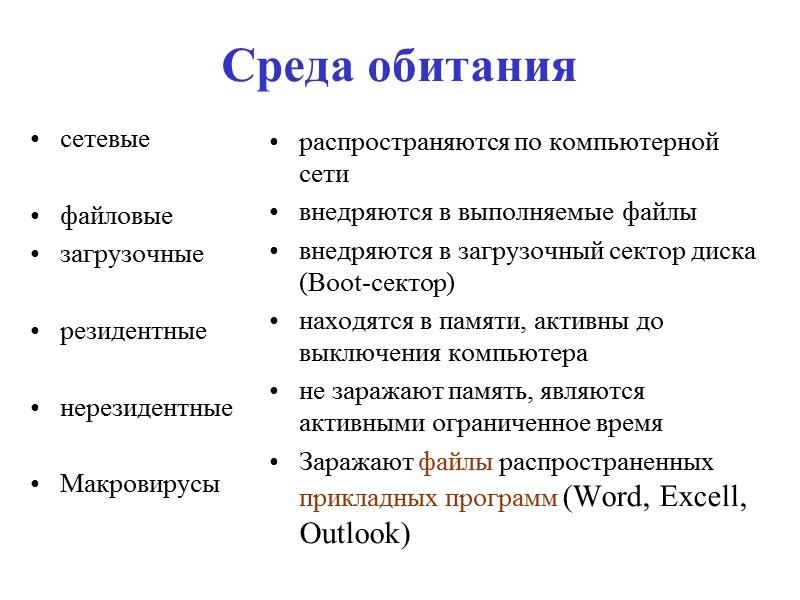 Malware Вредоносная программа (буквальный перевод англоязычного термина Malware, malicious — злонамеренный и software —