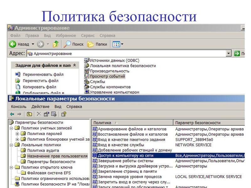 Систематическое резервирование (BackUp) Создание точек восстановления, диска восстановления системы Создание резервных копий системы и