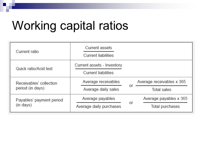 Slide 17 Liquidity ratios Current ratio Quick ratio Accounts receivable payment period Inventory turnover