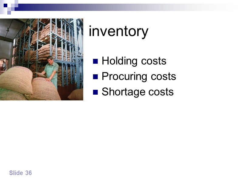 Economic order quantity model The order quantity affects a firm's total inventory costs, these