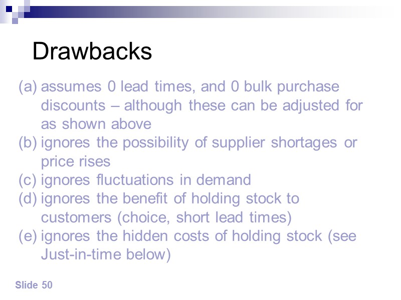 Slide 53 Lowering the stock level forces a company to hit the rocks ie
