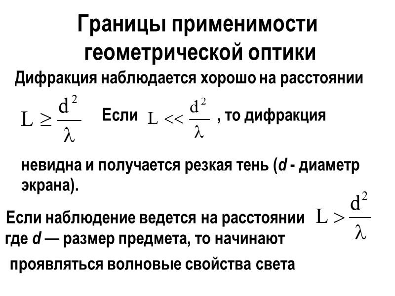 Образование I дифракционного минимума при многолучевой интерференции  где m = 1, 2, 3,…,