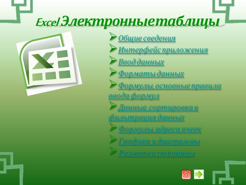 Excel  Электронные таблицы Общие сведения  Интерфейс приложения Ввод данных Форматы данных Формулы,