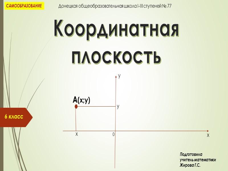 Координатная  плоскость 6 класс х у А(х;у) х у 0 САМООБРАЗОВАНИЕ Донецкая общеобразовательная