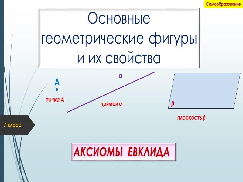 Основные  геометрические фигуры  и их свойства АКСИОМЫ  ЕВКЛИДА 7 класс Самообразование