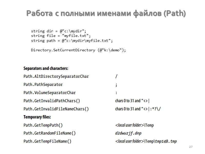 Работа с файловой системой 20 string Directory.GetCurrentDirectory (); void Directory.SetCurrentDirectory (string path); DirectoryInfo Directory.CreateDirectory