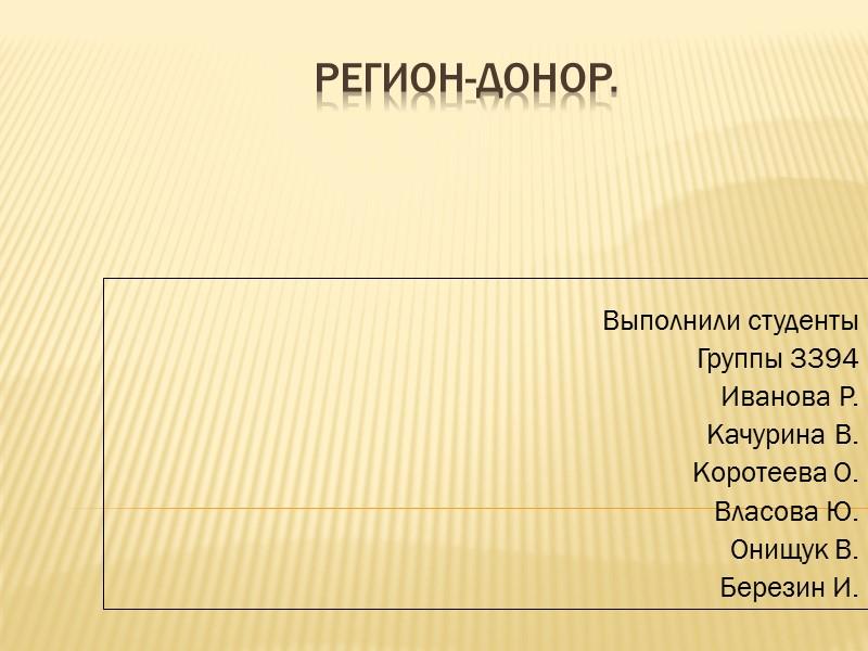 Регион-донор. Выполнили студенты Группы 3394 Иванова Р. Качурина В. Коротеева О. Власова Ю. Онищук