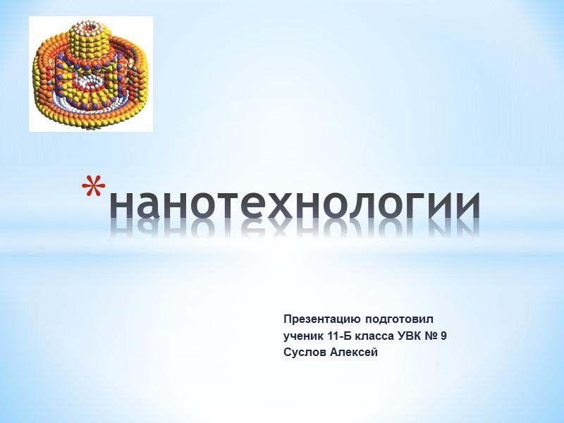Презентацию подготовил ученик 11-Б класса УВК № 9  Суслов Алексей нанотехнологии