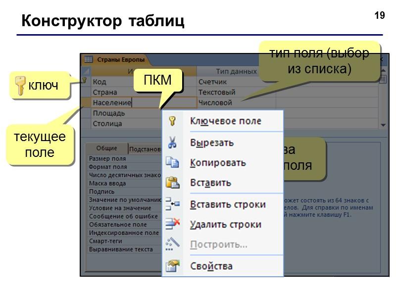 7 Работа с таблицами 2xЛКМ последняя запись поля записи текущая запись область выделения новая