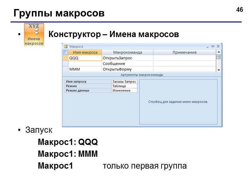 35 Связанные элементы надпись (текст можно менять) поле (название поля таблицы) маркеры (изменение размеров)