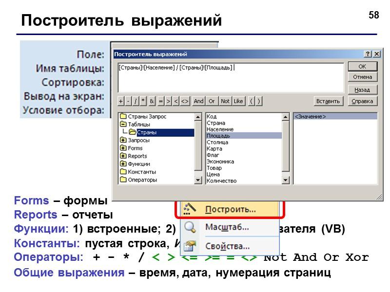 БАЗЫ ДАННЫХ. ACCESS 2007 © К.Ю. Поляков, 2007-2009 Тема 5. Запросы