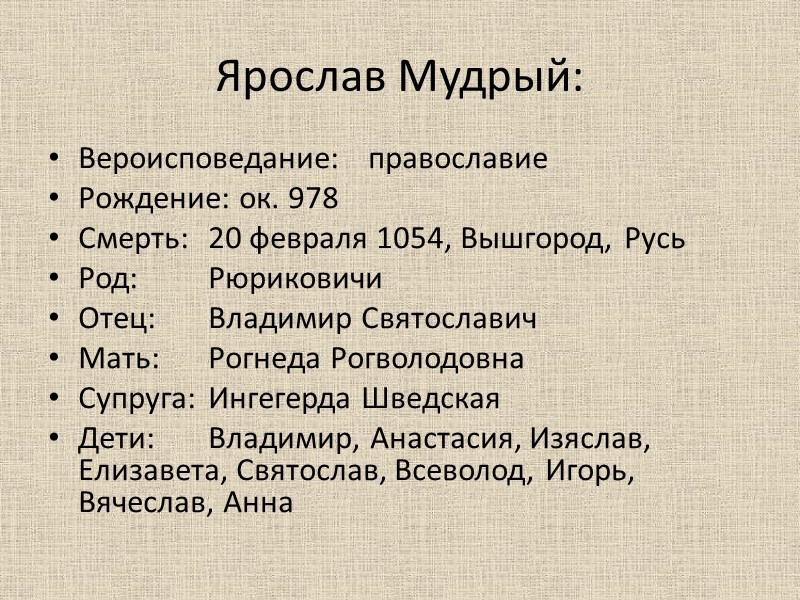 Ярослав Мудрый: Вероисповедание: православие Рождение: ок. 978 Смерть: 20 февраля 1054, Вышгород, Русь Род: