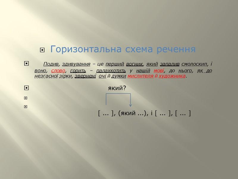 ЗРАЗКИ АНАЛІЗУ СКЛАДНОСУРЯДНОГО РЕЧЕННЯ   Зразок синтаксичного розбору складносурядного речення  Схема: горизонтальна: