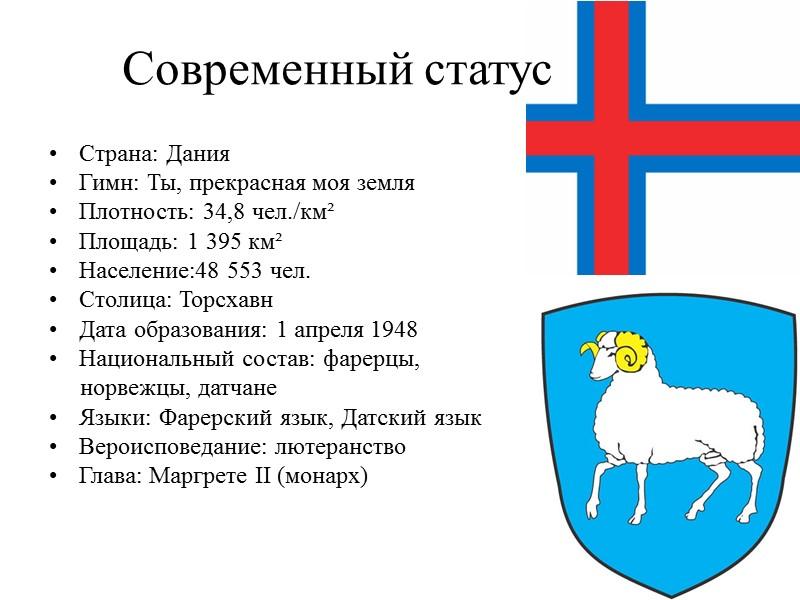 Современный статус Страна: Дания Гимн: Ты, прекрасная моя земля Плотность: 34,8 чел./км² Площадь: 1