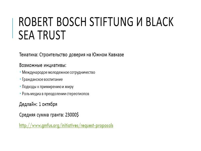 Robert Bosch Stiftung и Black Sea Trust Тематика: Строительство доверия на Южном Кавказе Возможные