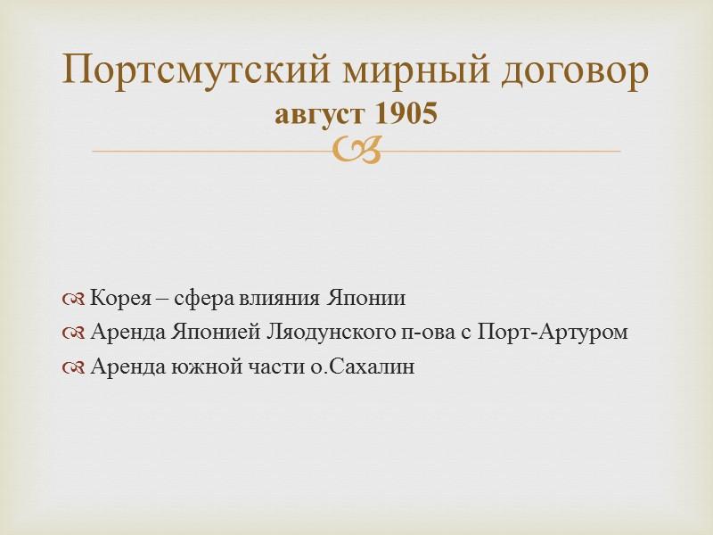 Основные направления внешней политики России в начале 20 века: