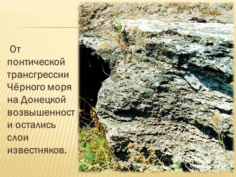 Донецкий кряж сложен в основном толщами каменноугольных песчаников, известняков и сланцев, с которыми связаны