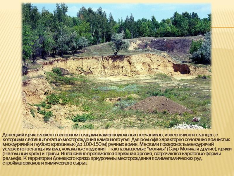 Рельеф Характерной чертой Донецкой области является преобладание холмисто- равнинного рельефа. Здесь выделяются возвышенности и