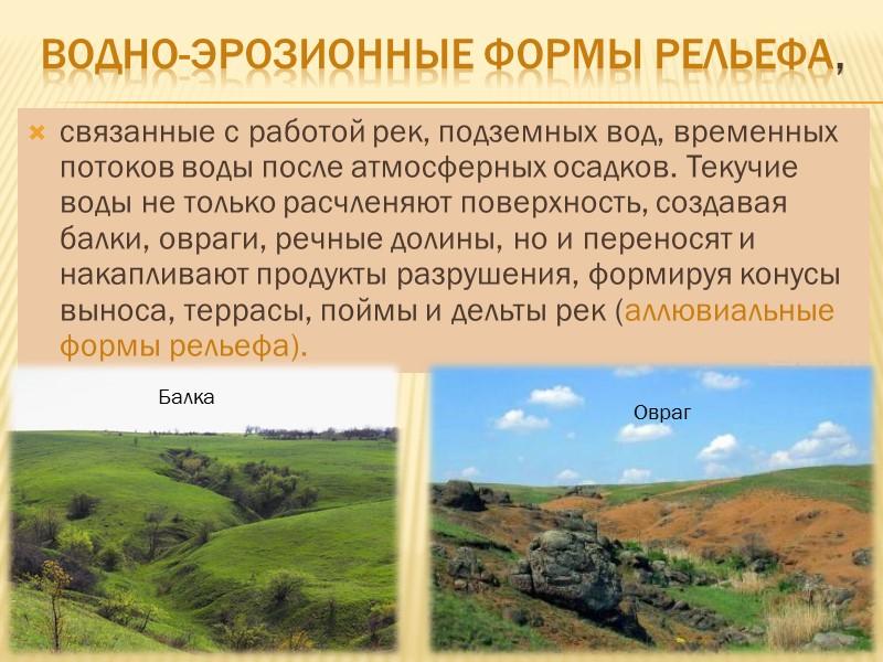 Развитие форм рельефа Современный рельеф постоянно изменяется. На территории Донецкой области, как и на