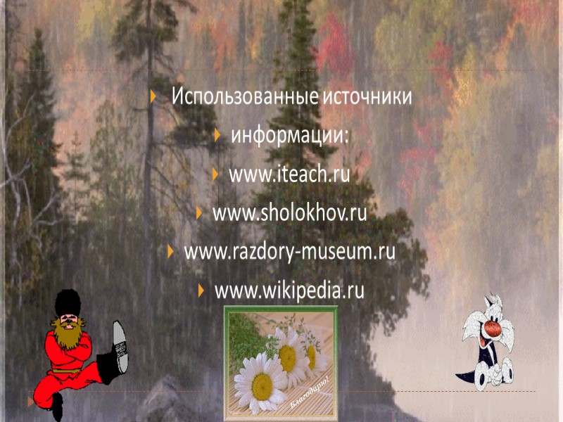 Использованные источники информации: www.iteach.ru www.sholokhov.ru www.razdory-museum.ru www.wikipedia.ru