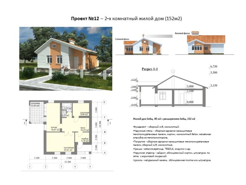 Жилой дом Sобщ. 77,8 м2, с расширением Sобщ. 108,7 м2   Фундамент -