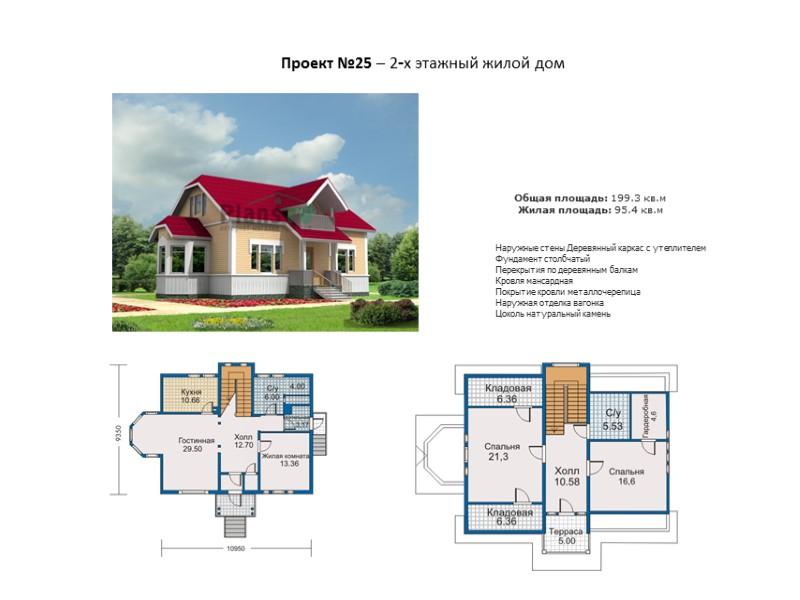 Проект №19 – 2-х этажный жилой дом