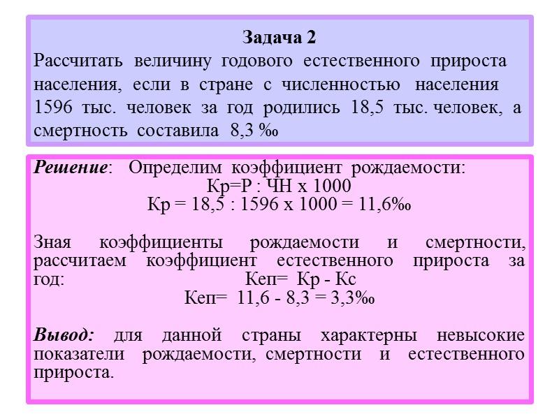 Коэффициент естественного прироста населения задачи с решением решение задач физике рымкевич 10 класс
