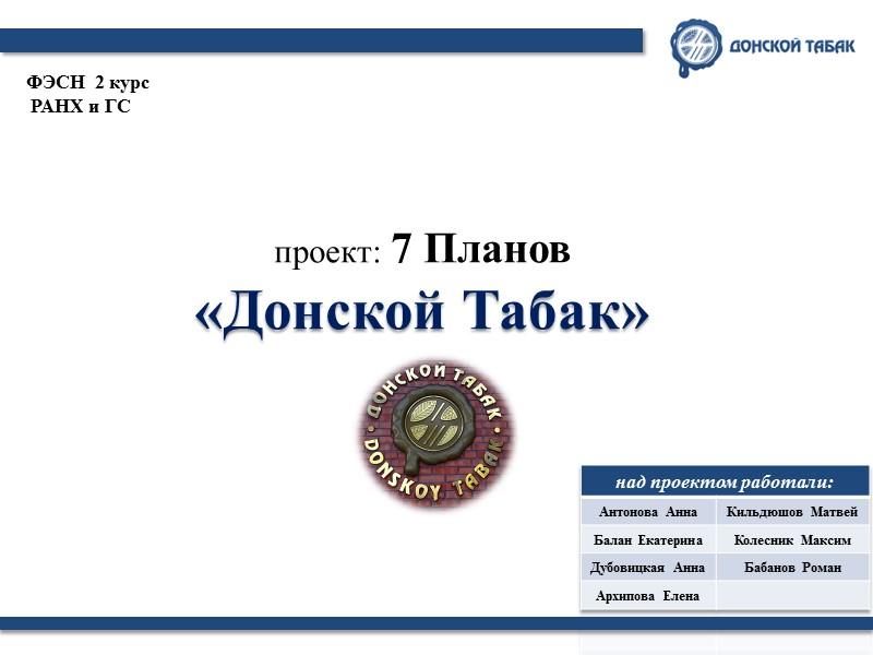 проект: 7 Планов «Донской Табак» ФЭСН  2 курс  РАНХ и ГС