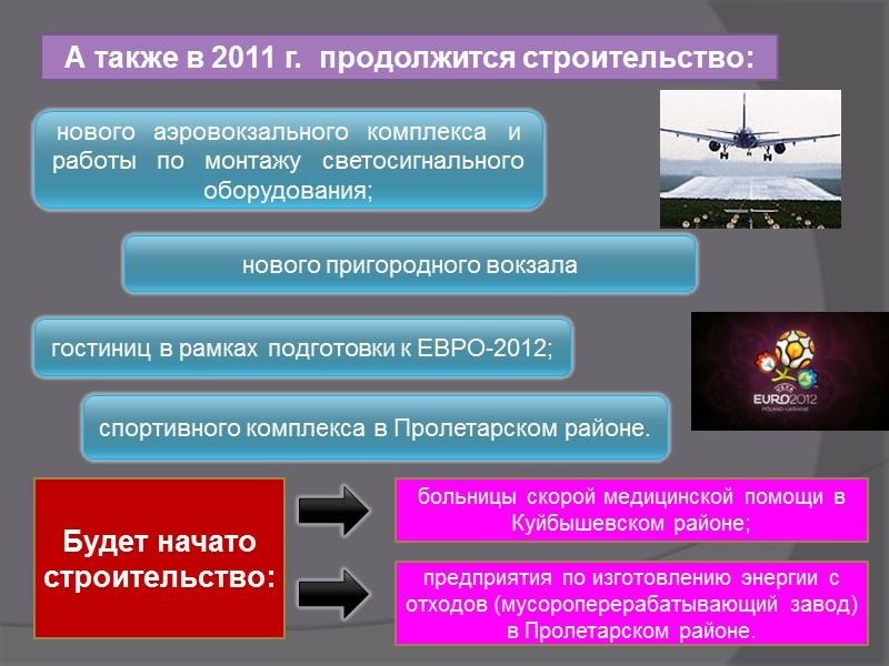 А также в 2011 г.  продолжится строительство: нового   аэровокзального