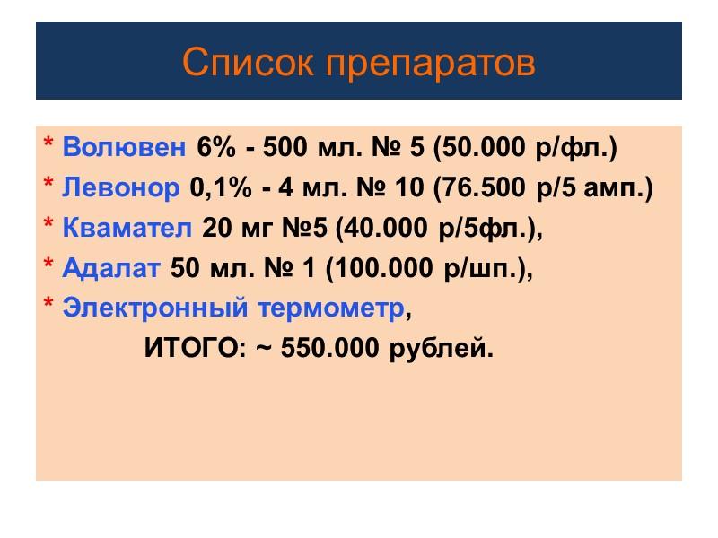 Диурез Цель:   - Диурез 1 – 3 мл/кг/час (75 – 225 мл/час)