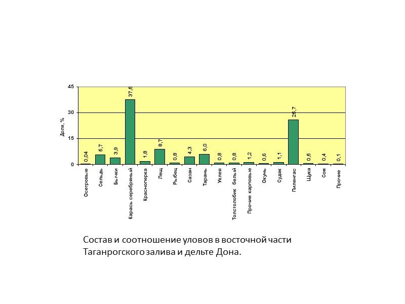 Состав и соотношение уловов в восточной части Таганрогского залива и дельте Дона.