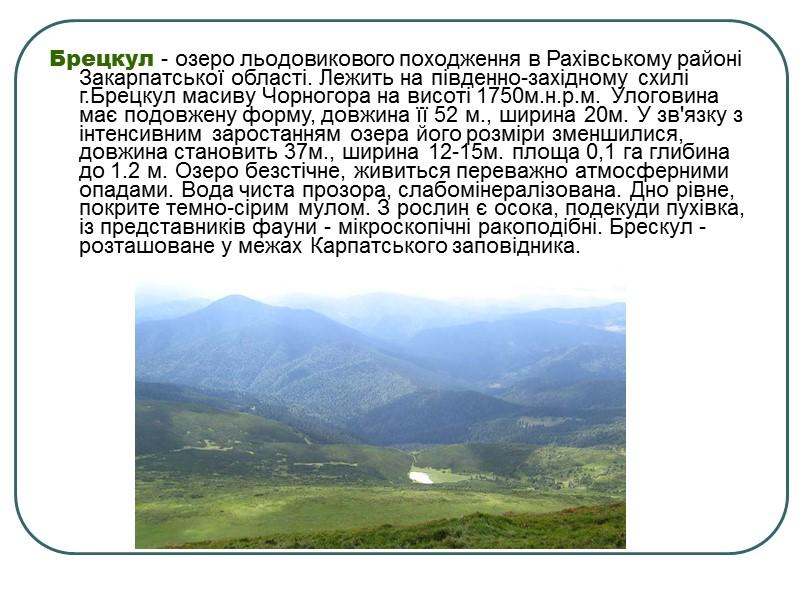 Апшинець - озеро льодовикового походження у Рахівському районі Закарпатської області.  Глибина до 3,3м.