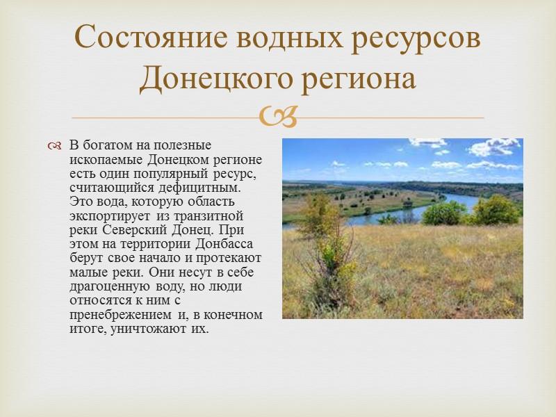 Состояние водных ресурсов Донецкого региона В богатом на полезные ископаемые Донецком регионе есть один