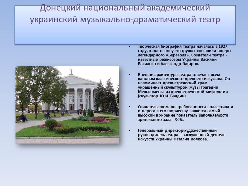 Донецкий национальный академический украинский музыкально-драматический театр    Творческая биография театра началась в