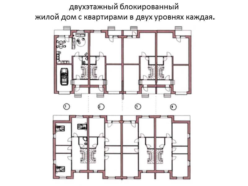 Примеры  блокированных  жилых домов
