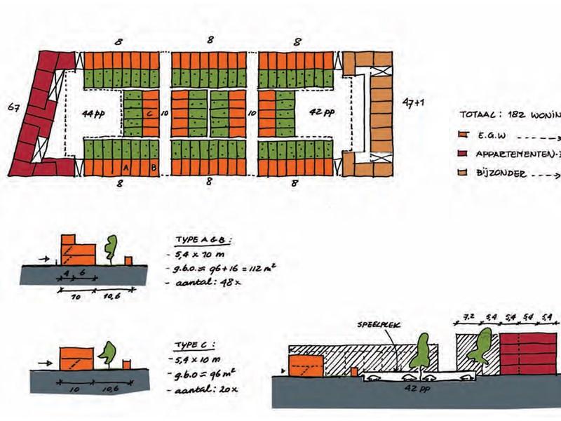 Рис. 55. Жилые дома повышенной плотности застройки. 1- трёхэтажный блокированных дом (Англия); 2- дом
