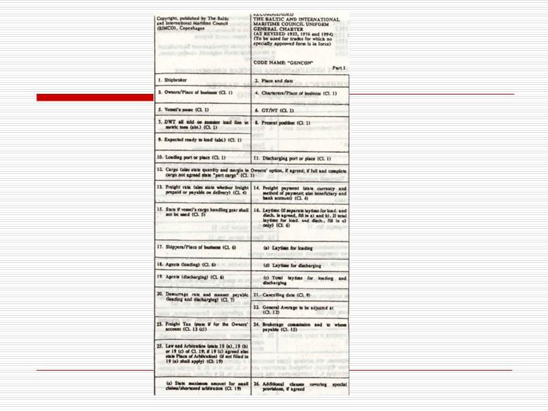 Проформа чартера Проформы чартеров (около 60), как правило, разрабатываются на перевозку конкретных грузов на