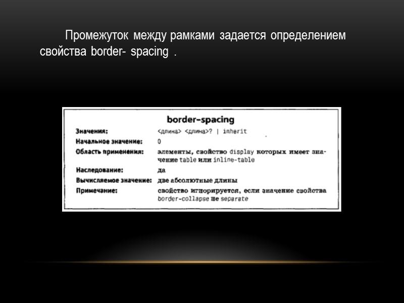Пример, иллюстрирующий наиболее важные аспекты представления заголовка:  caption  {  background: gray;