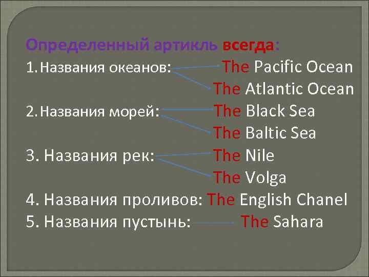 Определенный артикль всегда: 1. Названия океанов: The Pacific Ocean The Atlantic Ocean 2. Названия