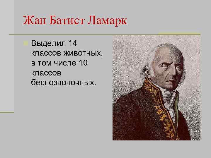 Жан Батист Ламарк n Выделил 14 классов животных, в том числе 10 классов беспозвоночных.