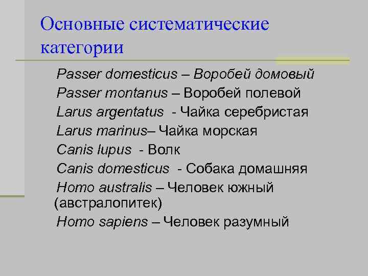 Основные систематические категории Passer domesticus – Воробей домовый Passer montanus – Воробей полевой Larus